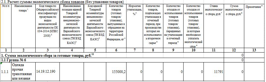 форма расчета экосбора