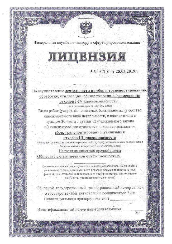 лицензия на утилизацию 1
